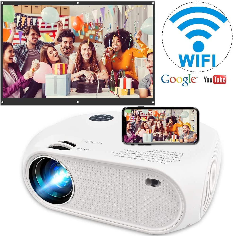 """Wireless WiFi Projector 4200L,2020 Newly Upgraded WEILIANTE Mini Video Projector, Support Dolby 50,000Hrs, 200"""" Display, Full HD 1080P, Compatible with Android, iOS, Video Games, TV Stick, Laptops"""