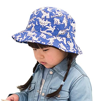 83ec206a48a Bigood Kid Summer Cartoon Dinosaur Print Cotton Bucket Sun Hat Blue 50cm   Amazon.co.uk  Clothing