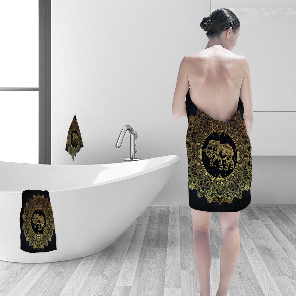 Bath towel set Hand drawn ornate paisley mandala elephant inside Ideal ethnic background tattoo art yoga African Indian Thai spirituality boho design Use for print posters shirts and other textiles by Nalahomeqq