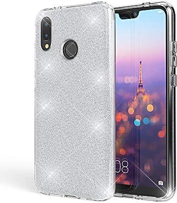 Coovertify Funda Purpurina Brillante Plateada Huawei P20 Lite ...