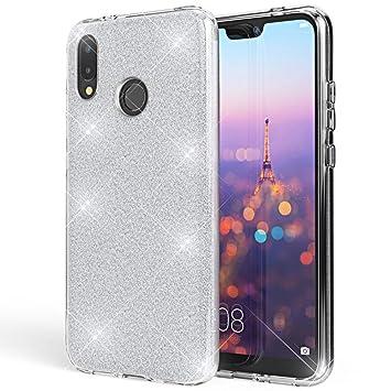 Coovertify Funda Purpurina Brillante Plateada Huawei P20 Lite, Carcasa Resistente de Gel Silicona con Brillo Gris Plata para Huawei P20 Lite