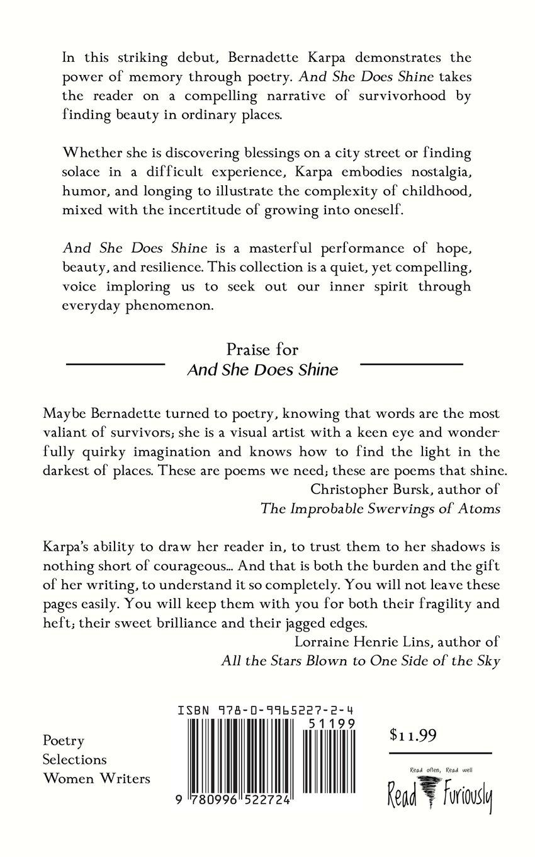 Amazon And She Does Shine 9780996522724 Bernadette Karpa Books