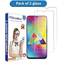 CELLBELL Tempered Glass Screen Protector with Easy Installation Kit for Samsung Galaxy M20(Transparent)[Pack of 2]