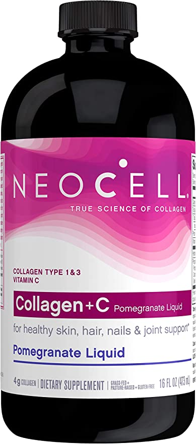 NeoCell Collagen +C Pomegranate Liquid, 4g Collagen Types 1 & 3 Plus Vitamin C, Healthy Skin, Hair, Nails and Joint Support 16 Ounces (Package May Vary)