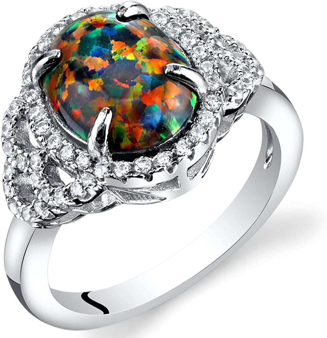 Created Black Opal Cocktail Ring Sterling Silver 1.25 Carats Sizes 5 to 9