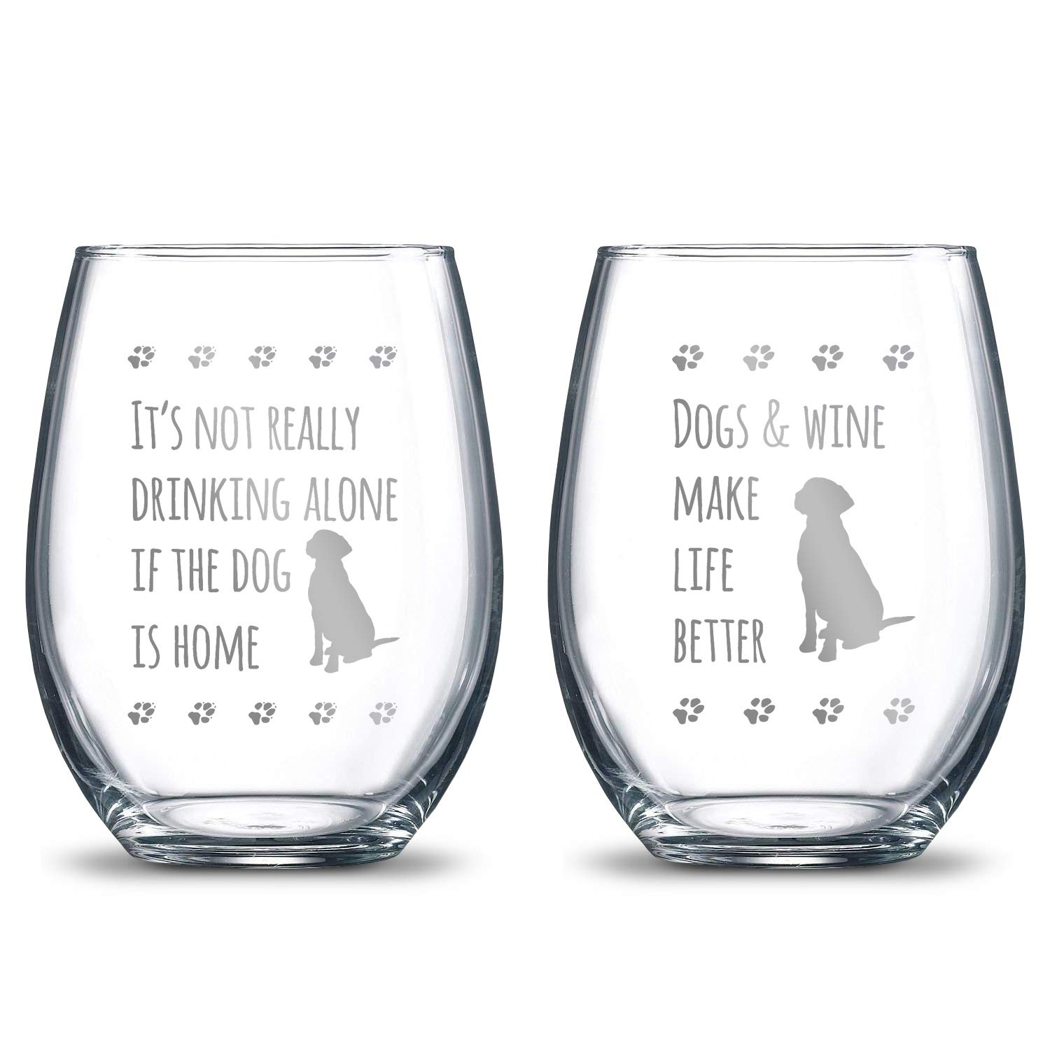 It's Not Really Drinking Alone if the Dog is Home + Dogs and Wine Make Life Better 21oz. Etched Stemless Wine Glasses | 2 Glass Set Packed in an Stylish Gift Box | The Perfect Dog Lovers Gift