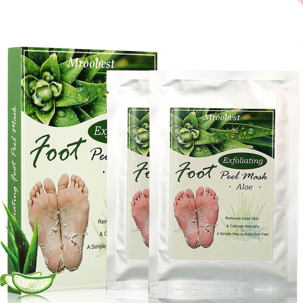 Foot Peel Mask, Foot Mask, Exfoliating Foot Mask, Exfoliating Socks, Exfoliating Callus Peel Booties, Natural Exfoliator for Dry Dead Skin,Cracked Heel Detox with Aloe extract,Repairs Rough Heels - 2 Pairs Mroobest