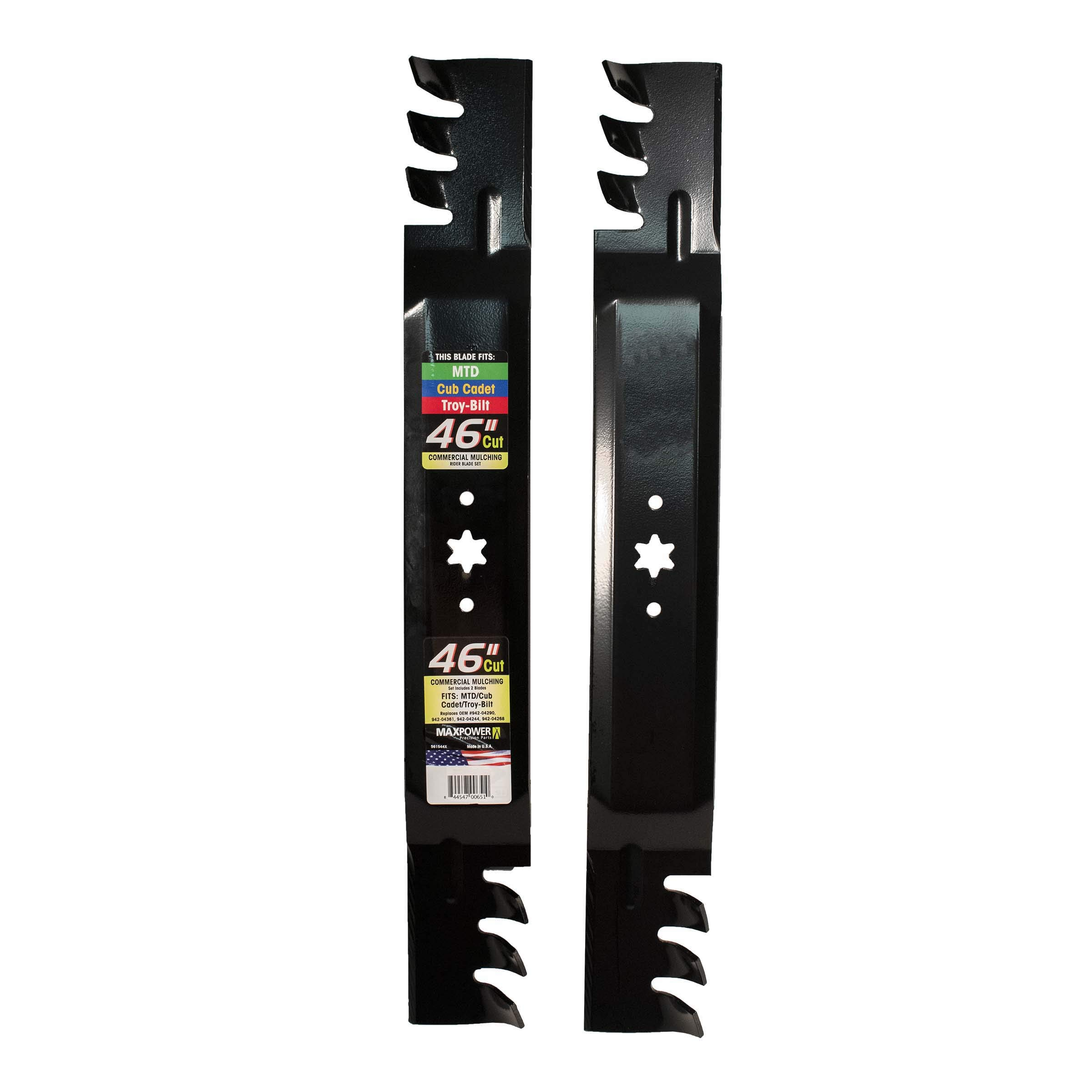 MaxPower 561544X Commercial Mulching Blade Set for 46'' Cut MTD/Cub Cadet/Troy-Bilt Replaces OEM No. 942-04290, 942-04361, 942-04244, 942-04268 and Others