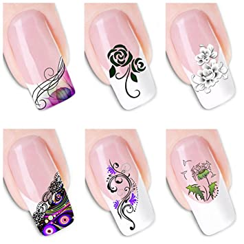 Amazon 6pcs Different Designs Nail Art Decoration Sticker