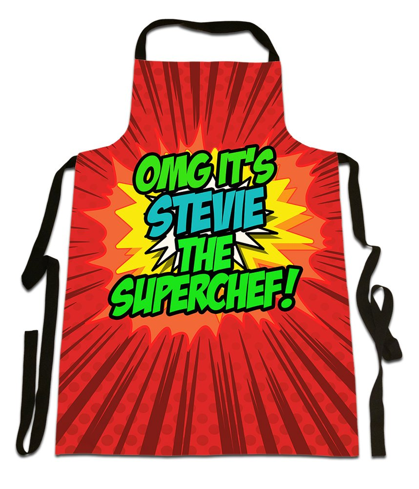 OMG It's Stevie The Superchef!', Personalised Name, Funny Comic Art Style Design, Canvas Apron,, Size 25in x 35in approximately Fresh Publishing Ltd