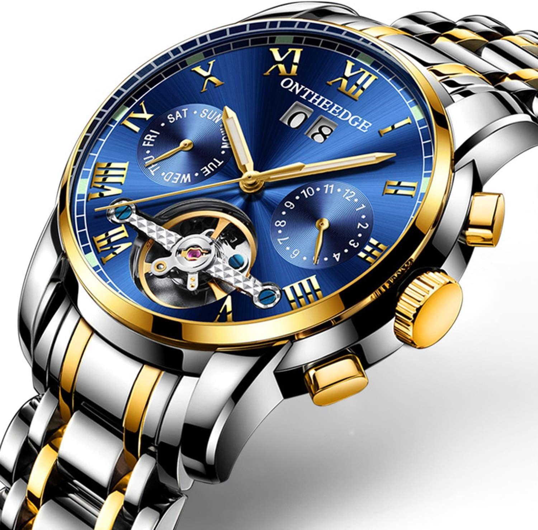 Z&S Reloj mecánico Suizo multifunción, tourbillon automático de Acero Inoxidable para Hombre. Reloj automático,D