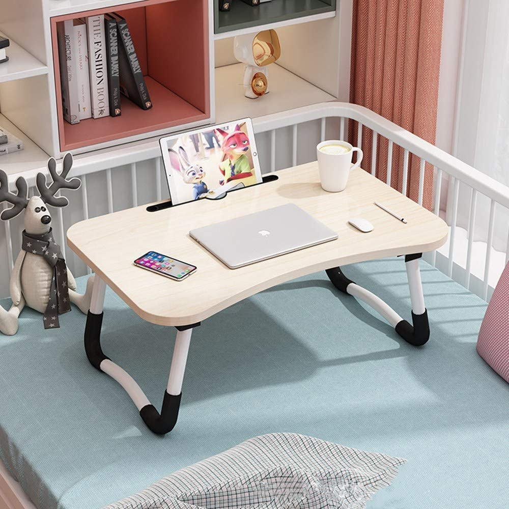 Bed Table for Laptop, Foldable Laptop Desk for Bed, Breakfast Bed Tray for TV, Lap Desk with Tablet Slot, Small Dormitory Table Notebook Stand Reading Holder for Couch Sofa Floor Kids - Light Brown