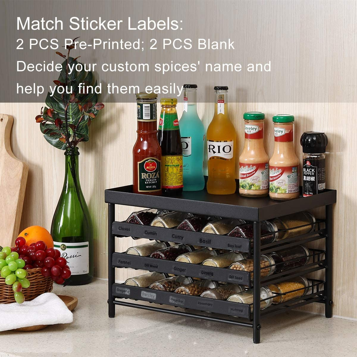 Pantry Fit For Countertop Cabinet Upgrade Version Frosted Black Esylife Stackable 30 Jars 3 Tier Spice Rack Organizer With Pull Out Drawers And Labels Home Kitchen Kitchen Storage Organisation