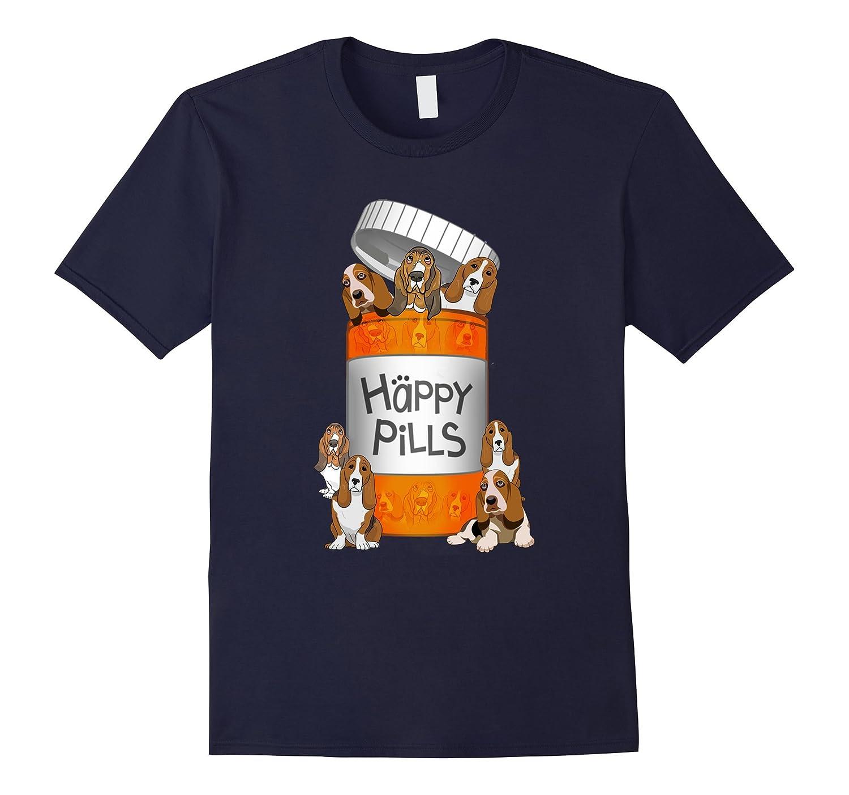 Basset Hound Happy Pills T-shirt-Art