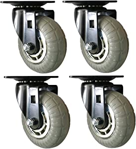 Headbourne 8270E Designer Casters 5 inch Soft Rubber Chrome & Black Designer Caster, 4 Pack