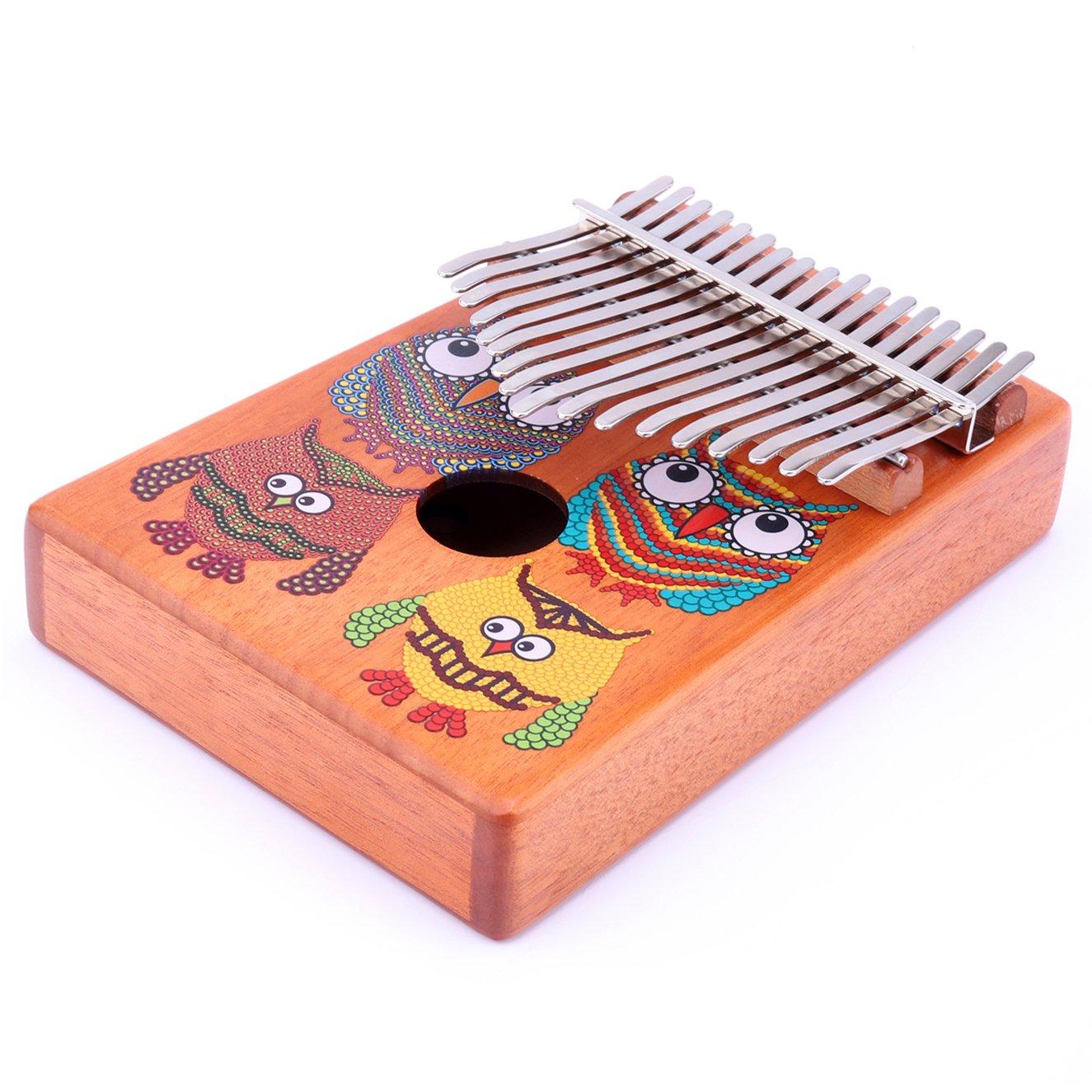 VI VICTORY 17 Key Mahogany Kalimba Colorful African Thumb Piano Finger Percussion Keyboard Music Instruments - Owl by VI VICTORY (Image #6)