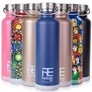 Rehydrate Pro Double Wall Vacuum Stainless Steel Water Bottle. + Extra Caps + Silicone Bumper Coaster. Comparable to Hydroflask, Camelbak, Yeti