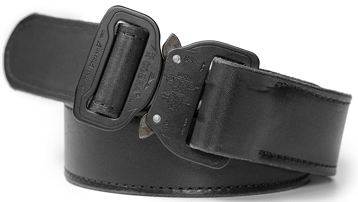 Cobra Belt Men/'s Leather Tactical Belt w//Heavy Duty Cobra Quick Release Buckle