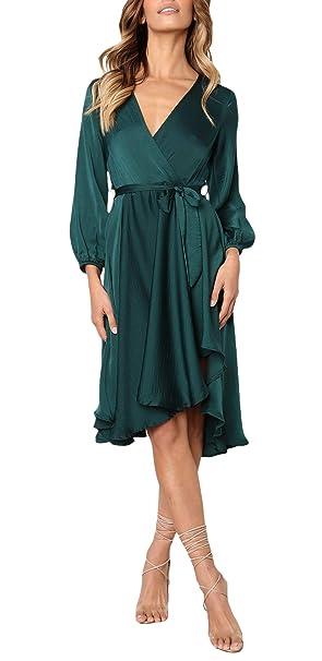 b6c5a6d8d3 Battercake Vestido Mujer Elegante La Rodilla Vestidos De Noche Manga Larga V -Cuello Colores Sólidos Irregular Fashion Vestido Coctel Casuales Mujeres  ...