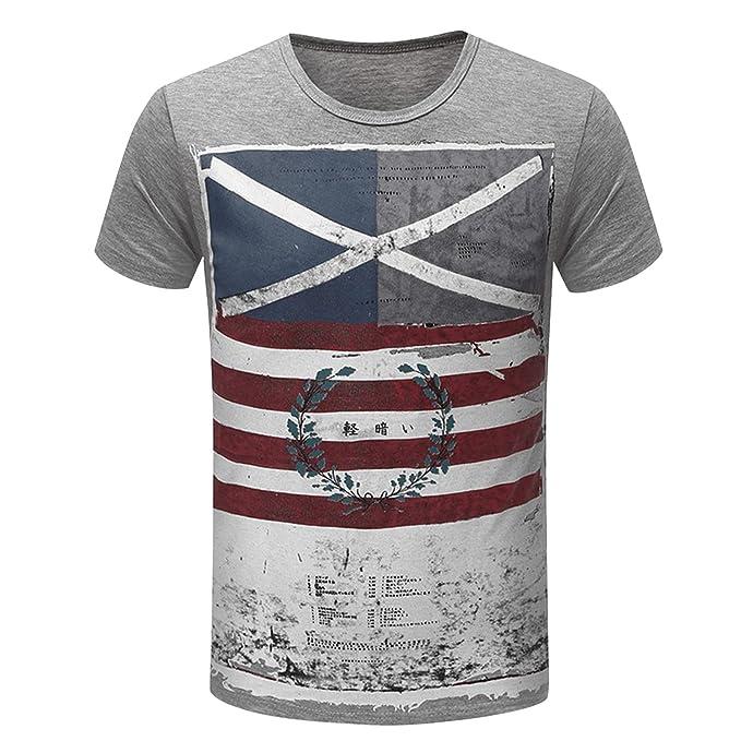 3a9f50a9ae1db6 semen Herren T Shirt Flagge Vintage Uesd Look Kurzarmshirt Gestreift Slim  Fit Fitness Tops Grafiken Fun T Shirt  Amazon.de  Bekleidung
