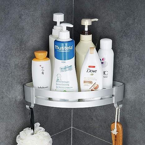 Hoomtaook Estantería de Esquina para Baño Ducha, Pegamento Patentado + Autoadhesivo, Aluminio, Acabado Mate, Estantes (plata 401)