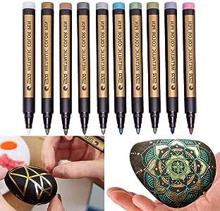 Back to School Supplies, 10 Pcs Assorted Colored Metallic Permanent Paint Markers Pens Metallic Marker (10Pcs Multicolor)