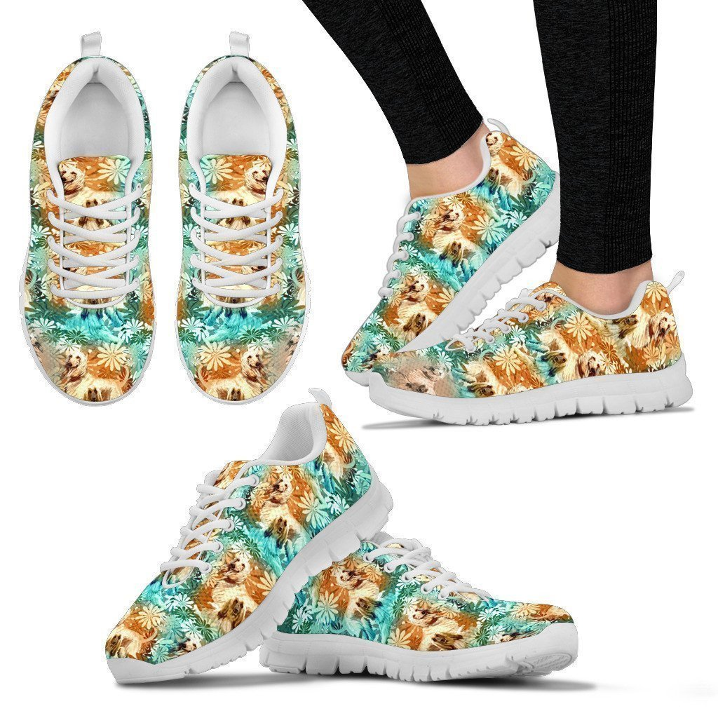 Breedink Afghan Hound Pattern Print Sneakers for Women Lightweight Shoes