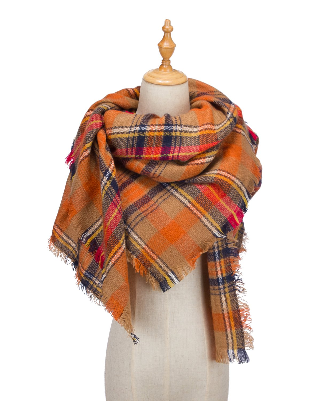 Large Tartan Fashion Women Scarf Lovely Best Gift Scarf Wrap Shawl Orange