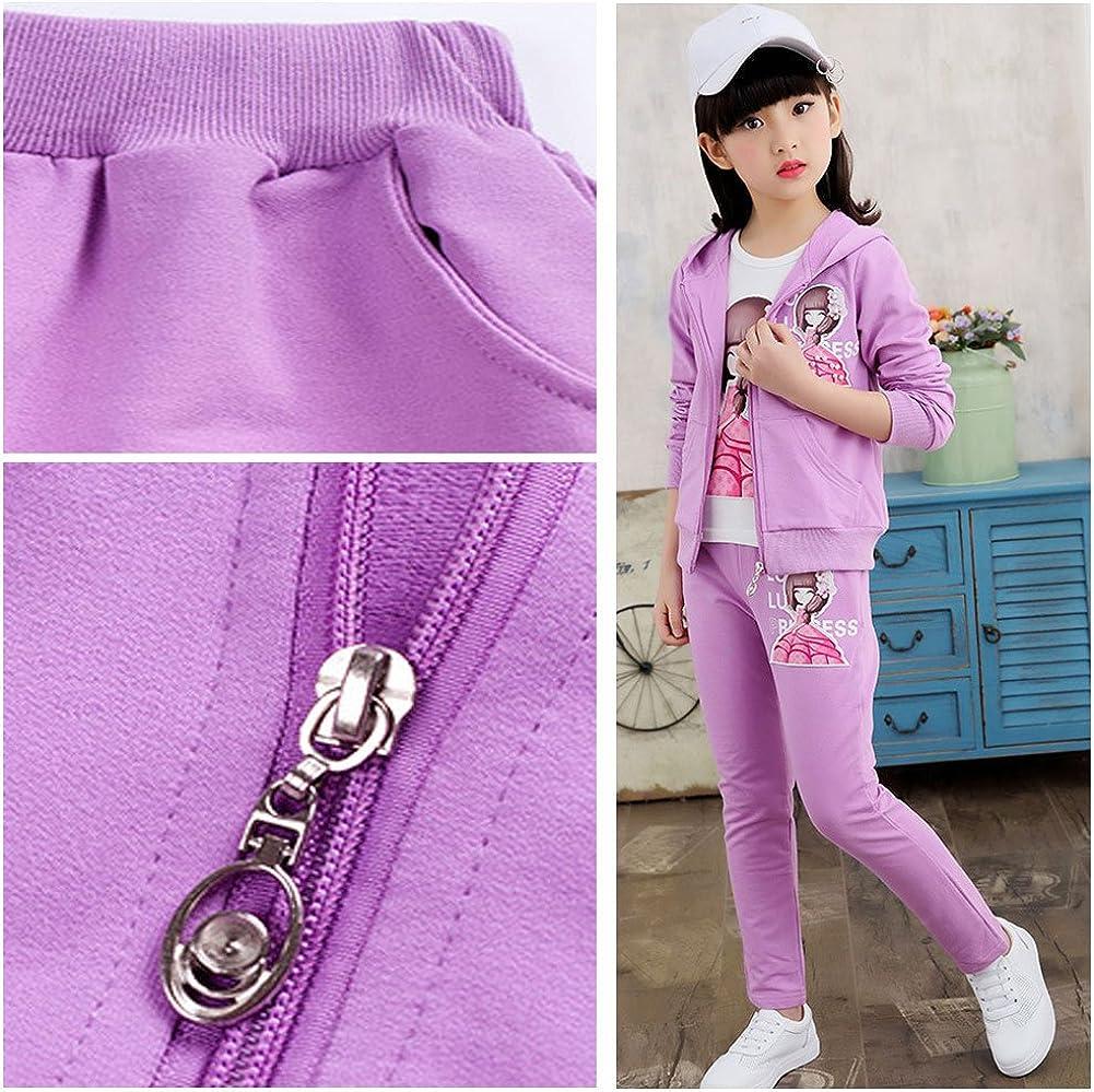 Traje de Camiseta SXSHUN Ni/ñas Ch/ándal con Capucha 4-12 A/ños Pantalones Set de 3 Piezas Traje Deportivo de Moda