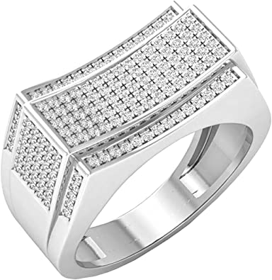 Round White Diamond Mens Micro Pave Hip Hop Wedding Band 1//5 CT ctw Sterling Silver Dazzlingrock Collection 0.20 Carat