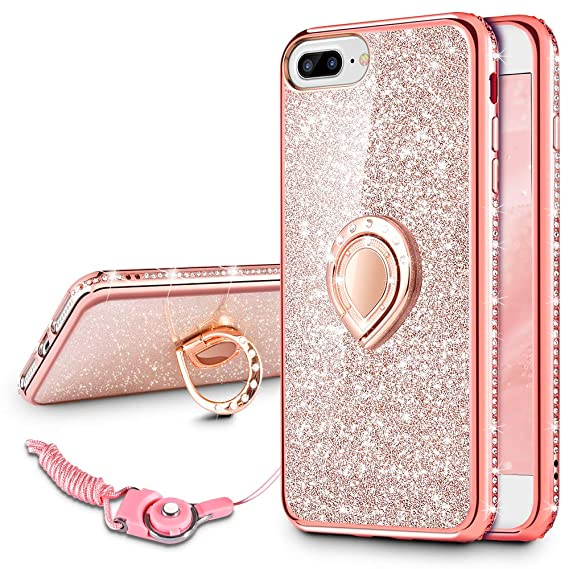 on sale 41fe5 0f94c VEGO Case Compatible with iPhone 7 Plus iPhone 8 Plus, Glitter Sparkle  Bling Rhinestone Fancy Cute Case with Ring Holder Kickstand for Girls Women  for ...