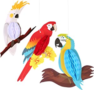 Jetec 6 Pieces Parrot Honeycomb Party Hanging Decorations Paper Bird Ornament for Summer Luau Hawaiian Tropical Beach Wedding Birthday Favor
