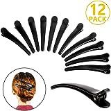PAMIYO 12 Pièces Plastique Dents Crocodile Dents Nœuds Pinces à Cheveux,DIY Accessoires Épingles à cheveux pour Femmes, Clip a cheveux en plastique, Filles et Coiffeur (Noir)