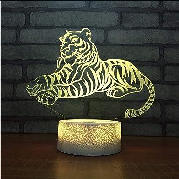 Xzfddn Tiger Led Atmosphere 3d Lampe Schlafzimmer