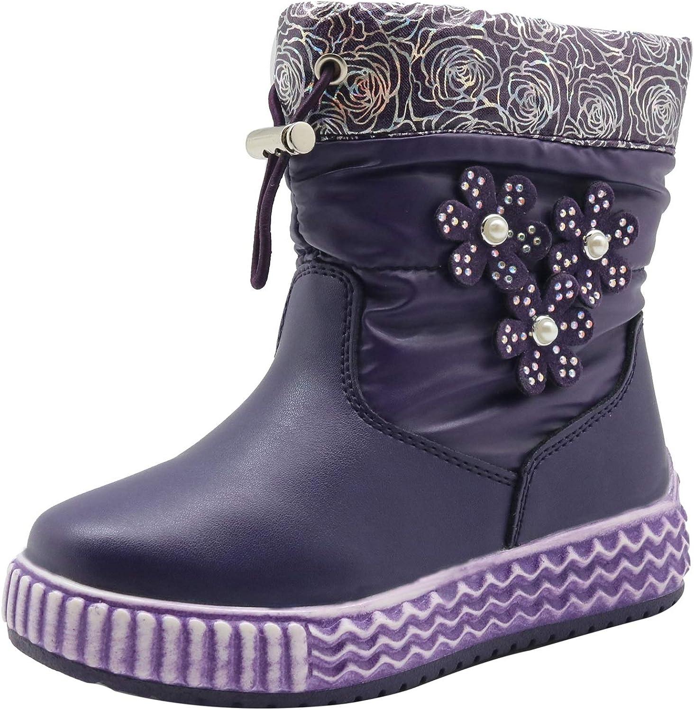 Apakowa Toddler Girls Mixed Wool Lining Winter Floral Snow Boots