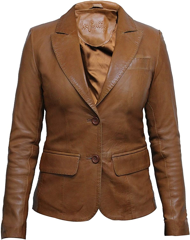 ABSY Ladies Womens Slim Fit Leather Biker Blazer Jacket Designer Look Coat