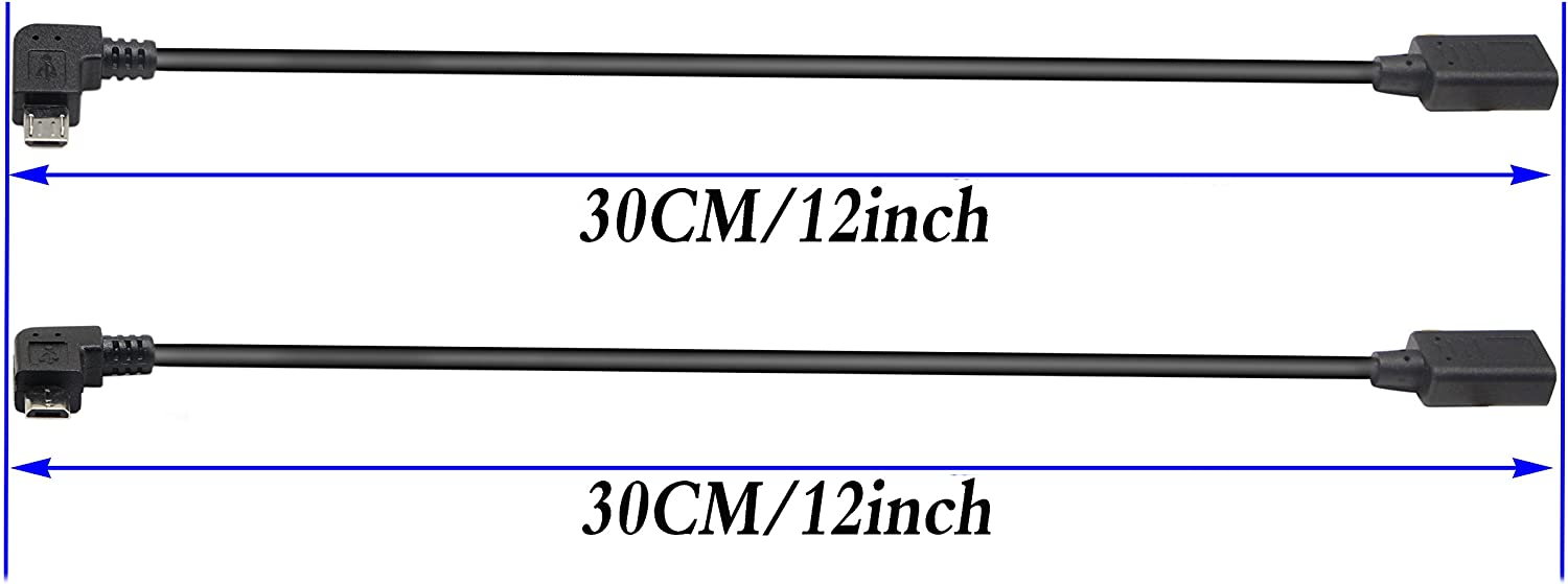 zdyCGTime 2-Pack Micro USB to Type-C Extender Cable USB Type-C Female to 90 Degree Right /& Left Angled Micro USB Male Extension Cable Data Sync and Charging Cable for Tablet /& Mobile Phone 30CM