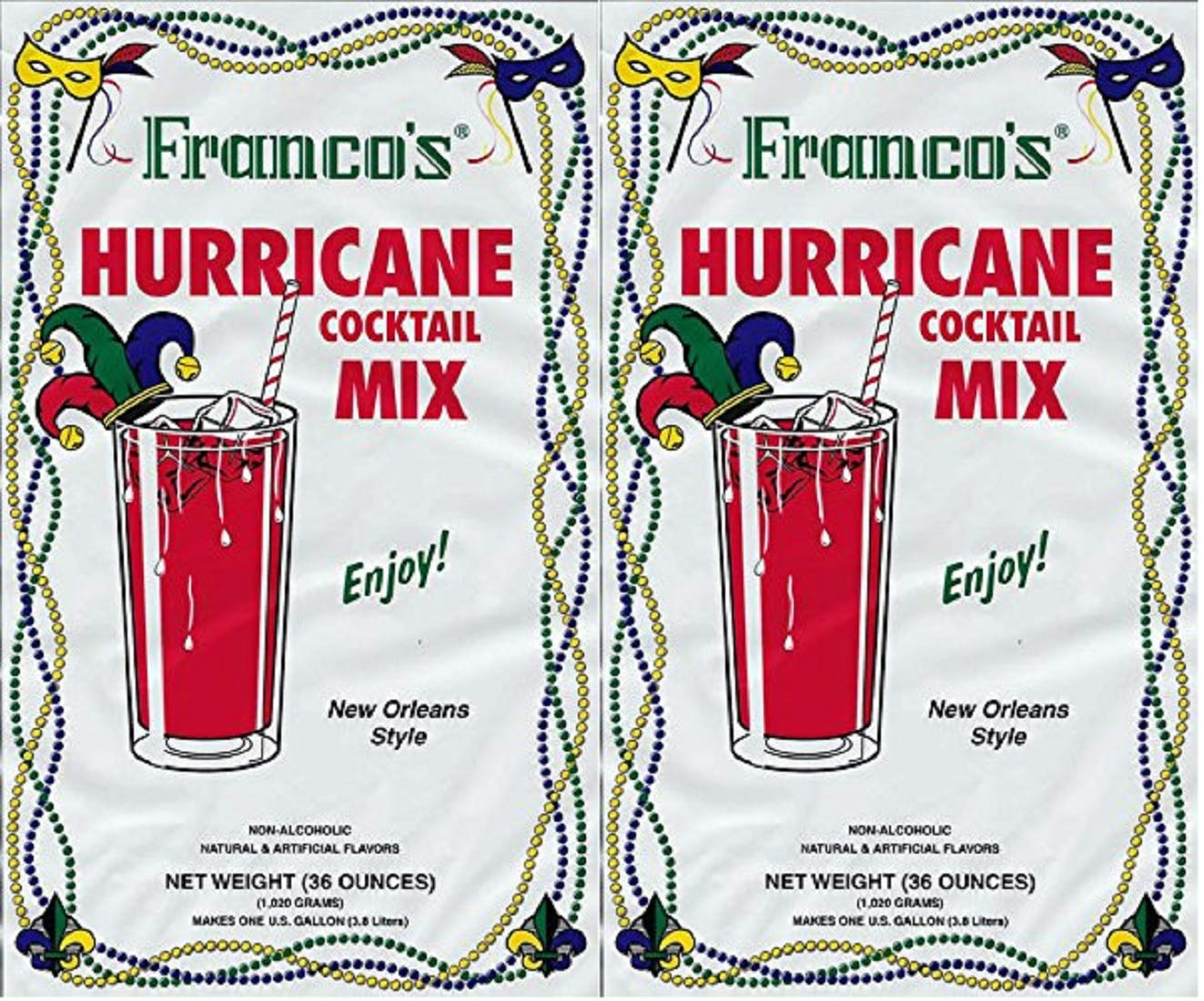 Franco's New Orleans Style Hurricane Cocktail Mix, 36 Ounce Pouch (Pack of 2, Makes 2 Gallons Total)