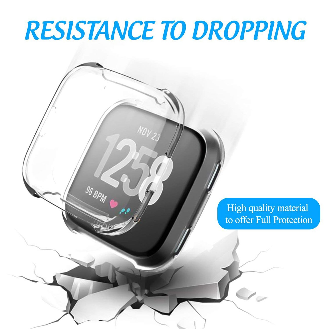GerTong Soft Silicone TPU Full Cover Case For Fitbit Versa Ultra-thin Soft Plating TPU Protection For Fitbit Versa Protective Shell Frame for Fitbit Versa Smartwatch Clear by GerTong (Image #4)