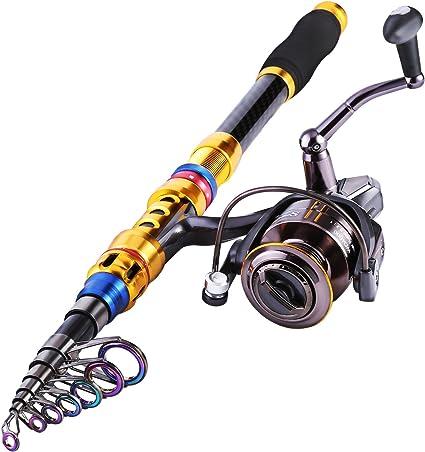 Sougayilang Spinning Fishing Rod and Reel Combos Portable Telescopic Fishing ...