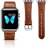 Icarercase Vintage Series Leather Strap with Metal Clasp Buckle for Apple iWatch (Brown, 38mm)