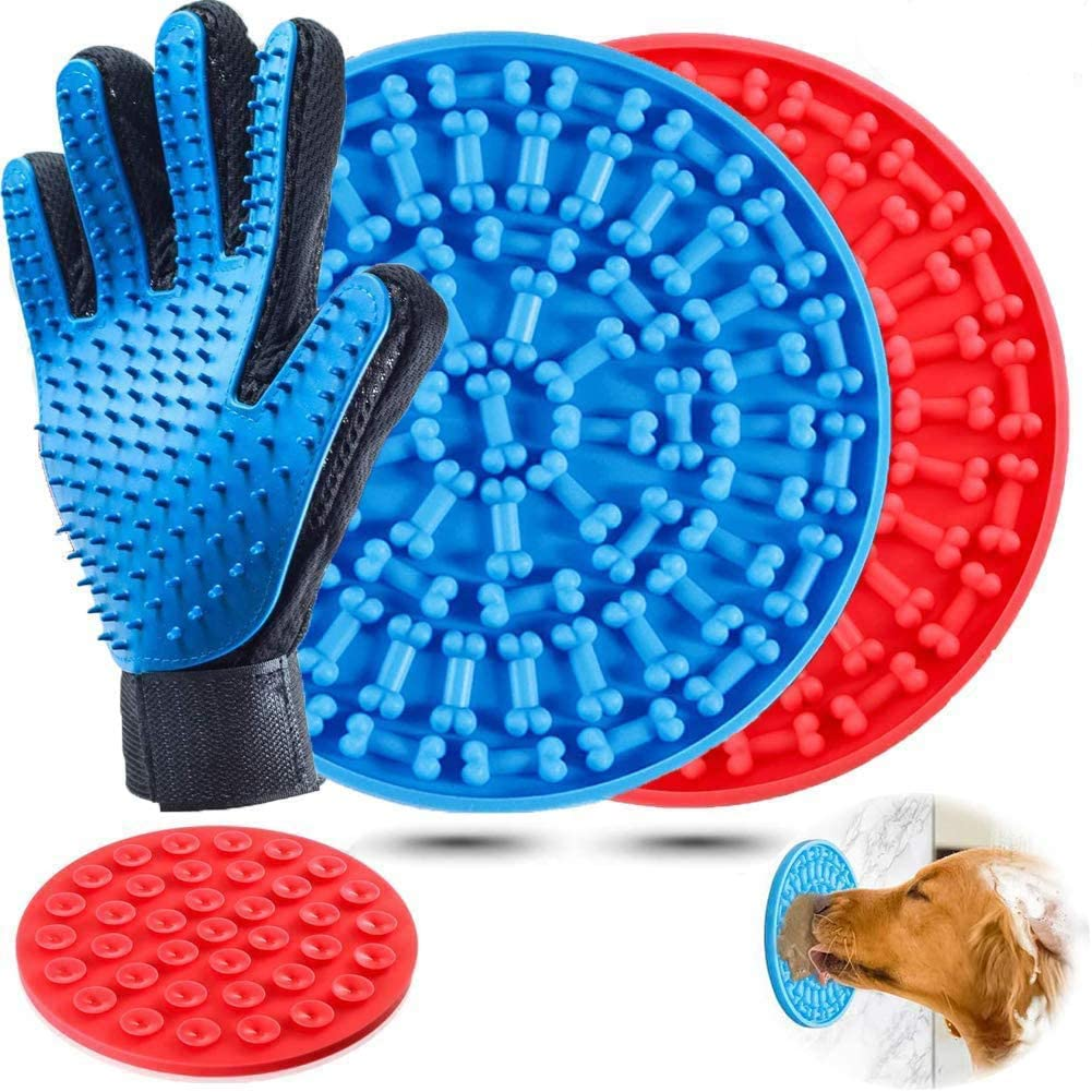 H-Jia Dog Lick Mat, Peanut Butter Lick Pad with Strong Suction to Wall, Slow Feeder Lick Mat for Dogs, Durable Food Grade Silicone Lick Pad for Pet Bathing, Grooming, and Dog Training