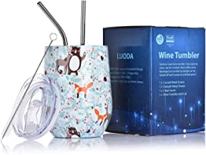 LUODA 12 Oz Stainless Steel Stemless Wine Glass Tumbler with Lid and Straw Vacuum Insulated Double Wall Travel Tumbler Cup for Coffee, Wine, Cocktails, Champagne Ice Cream (CuteAnimal)