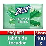 Zest Jabón de Tocador, Vitalidad Pepino, 100 gr, Paquete de 5 Piezas