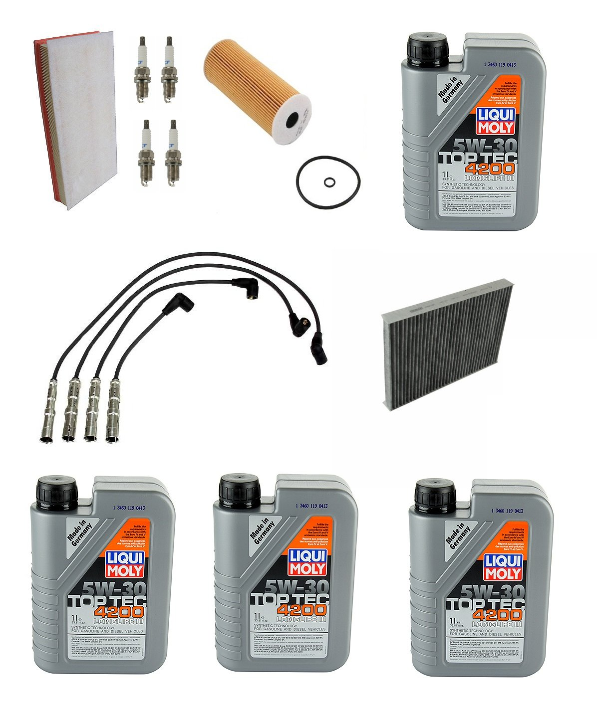 Tune up Kit Air Oil Cabin Filter Spark Plugs Wires Volkswagen Golf Jetta Beetle