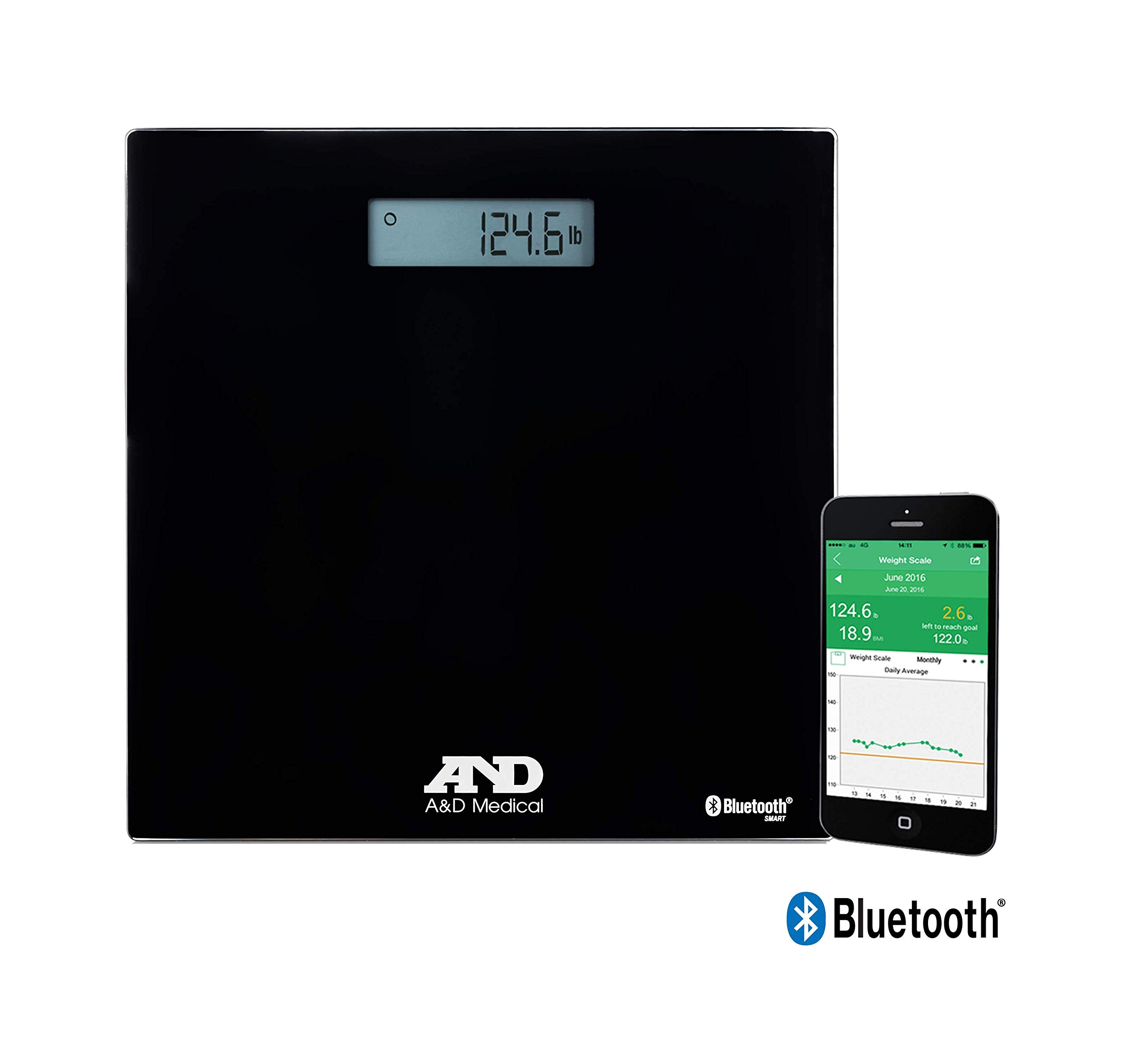 A&D Medical Wireless Connected Weight Scale, Black (UC-352BLE) by A&D Medical