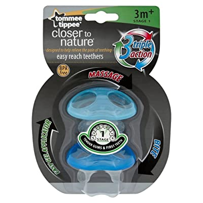 Tommee Tippee Closer to Nature Stage 1 Easy Reach Teether 3m+ (Boy) : Baby