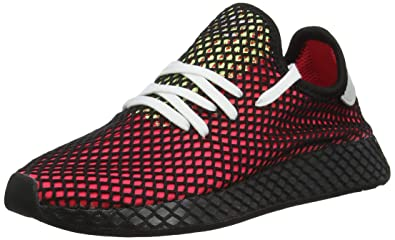 adidas Mens Deerupt Runner Mesh Shock Red Lilac Black Trainers 9.5 US