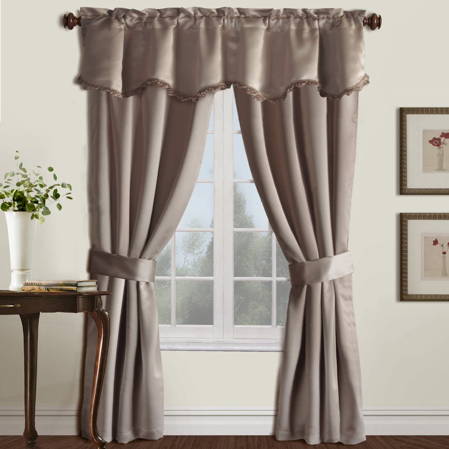 United Curtain Burlington Blackout Window Curtain Five Piece Panel Set, 52 by 63-Inch, Taupe
