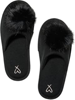 28ec9f43a5 Amazon.com  Victoria s Secret Pom pom Slipper Black Slides Large 9 ...